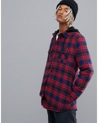 Volcom - Field Ins Hooded Flannel In Red - Lyst