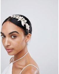 LoveRocks London - Rose Gold Leaf & Pearl Hairband - Lyst