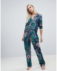 ASOS - Midnight Botanical Traditional Pyjama Shirt And Trouser Set 100% Modal - Lyst