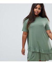 a7c5a1613e ASOS - Asos Design Curve Mini T-shirt Dress With Drop Ruffle Hem - Lyst