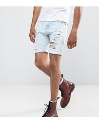 Liquor N Poker - Abrasions Bleached Blue Denim Shorts - Lyst