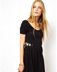 7874b2bf751 Lyst - ASOS Midi V Neck Lace Bodycon Dress in Natural