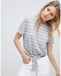 Mango - Tie Front Stripe T-shirt - Lyst