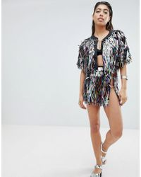 Jaded London - Festival Mini Skirt In Holographic Sequins - Lyst