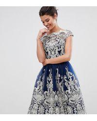 Chi Chi London - Premium Metallic Lace Midi Prom Dress With Bardot Neck - Lyst