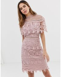 Chi Chi London - High Neck Lace Pencil Midi Dress In Blush Pink - Lyst