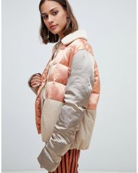 Maison Scotch - Satin And Canvas Quilted Bomber Jacket - Lyst