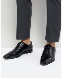 Dune - Toe Cap Derby Shoes In Black Leather - Lyst