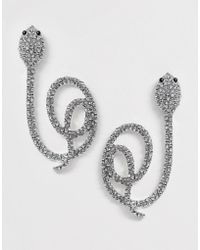 ASOS - Earrings With Pave Stone Swirling Snake Design In Silver Tone - Lyst