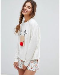 d1f1856e215 ASOS - Asos Design Christmas Pom Pom Reindeer Short And Longsleeve Pyjama  Set - Lyst
