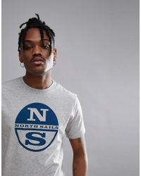North Sails - Slim Fit Large Logo T-shirt In Grey - Lyst