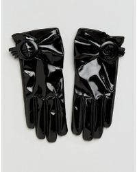 ASOS - Black Patent Buckle Glove With Touch Screen - Lyst