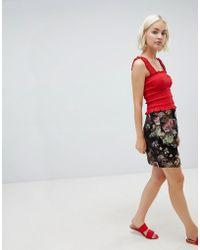 Girls On Film - Floral Jacquared Skirt - Lyst