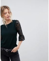 Oasis - Lace And Broderie Top - Lyst