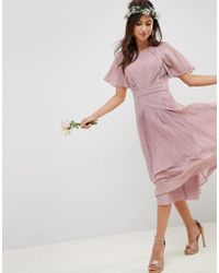 ASOS - Pleated Panelled Short Sleeve Midi Dress With Lace Inserts - Lyst
