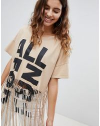Pull&Bear - Organic Cotton Fringe Tshirt - Lyst