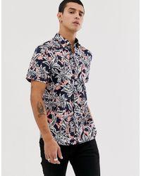 Ted Baker Рубашка С Гавайским Цветочным Принтом - Темно-синий