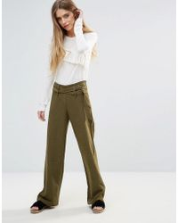 First & I - Wide Leg Belted Trousers - Lyst