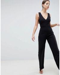 38f0b444d9b Lyst - Ax Paris Lace Top Jumpsuit in Black