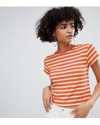 Weekday - Crop Fine Rib T-shirt - Lyst
