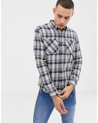 D-Struct - Twin Pocket Tartan Flannel Shirt - Lyst