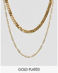 Gogo Philip | Double Layered Gold Plated Necklace | Lyst