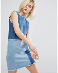 I Love Friday - Shift Dress In Patchwork Denim - Lyst