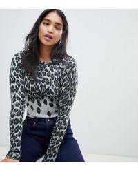 Oasis - Jumper In Grey Leopard Print - Lyst