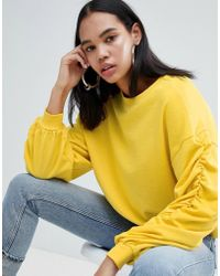 Weekday - Gathered Sleeve Sweatshirt In Yellow Melange - Lyst