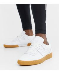 Reebok Workout Low Leather Gum Trainers In White Bd4764 in White for ... f9e086ce3