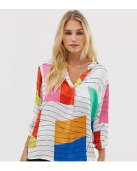 f813eacee55 Esprit - Abstract Print Blouse In White - Lyst