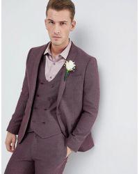 ASOS - Wedding Skinny Suit Jacket In Purple Micro Texture - Lyst