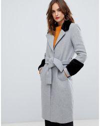 Y.A.S Faux Fur Trim Wrap Coat