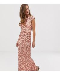 Bariano - Embellished Patterned Sequin Maxi Dress With Cap Sleeve In Rose Gold - Lyst