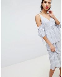 Lost Ink - Midi Dress With Embroidered Puff Sleeves - Lyst