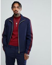 ASOS - Asos Slim Smart Track Jacket In Navy With Wine Stripe - Lyst