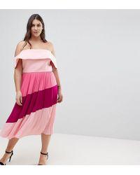 ASOS - Scuba Bardot Colourblock Pleated Midi Dress - Lyst