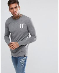 11 Degrees - Muscle Long Sleeve T-shirt In Grey - Lyst