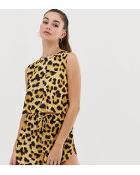 ASOS - Asos Design Tall Animal Print Jersey Beach Shorts Co-ord - Lyst