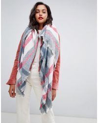 Pieces - Check Herringbone Square Scarf - Lyst