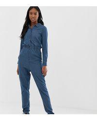Noisy May Tall - Denim Boiler Suit - Lyst