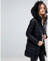 Vero Moda - Down Longline Padded Jacket With Faux Fur Collar - Lyst