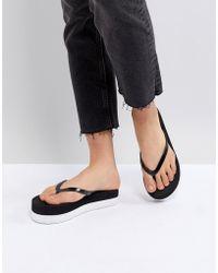 Vero Moda | Flatform Monochrome Flip Flops | Lyst