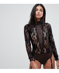 ASOS - Asos Design Tall High Neck Lace & Mesh Long Sleeve Thong Body - Lyst
