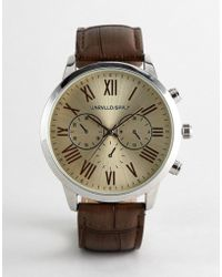 ASOS - Design Vintage Style Watch Crocodile Emboss Strap In Brown And Off White Dial - Lyst