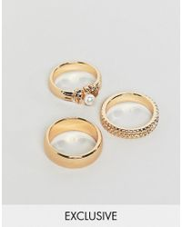 Reclaimed (vintage) - Inspired Pack Of 3 Gold Mixed Detail Rings - Lyst
