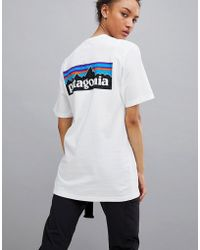 Patagonia - P-6 Back Logo T-shirt In White - Lyst