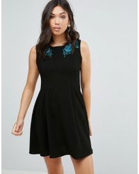 Hell Bunny - Rose Embroidered Skater Dress - Lyst