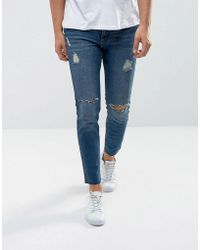 Mango - Man Ripped Skinny Jeans With Raw Hem In Mid Wash - Lyst