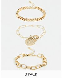 ASOS - Pack Of 3 Bracelets With Open Link And Box Chain And Worn Coin Charm In Gold Tone - Lyst